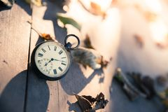 Time goes by: vintage watch outdoors; wood, leaves and sunshine. Vintage pocket watch on a wood board, colourful leaves, autumn, sunshine time goes clock stock images