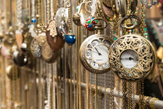 Vintage pocket watches. Old bronze clocks in flee market Jaffa Israel Royalty Free Stock Photography
