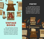 Vintage poetry books posters for bookshop or bookstore library royalty free illustration