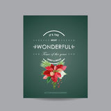 Vintage Poinsettia Christmas Card - Winter Background Royalty Free Stock Photography