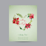 Vintage Poinsettia Christmas Card - Winter Background Royalty Free Stock Photos