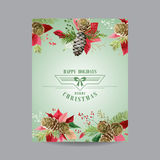 Vintage Poinsettia Christmas Card - Winter Background Royalty Free Stock Photo