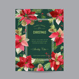 Vintage Poinsettia Christmas Card - Winter Background Stock Photos