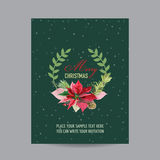 Vintage Poinsettia Christmas Card - Winter Background Stock Image