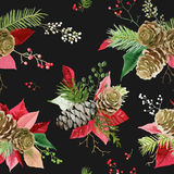 Vintage Poinsettia Flowers Background - Seamless Christmas Pattern Stock Photos