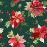 Vintage Poinsettia Flowers Background - Seamless Christmas Pattern Stock Photo