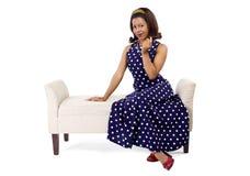 Vintage Poka azul Dot Dress Foto de archivo libre de regalías