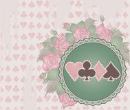 Vintage Poker background with flowers Stock Photos