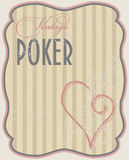 Vintage poker card hearts Stock Image