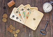 Vintage poker cards Royalty Free Stock Photo