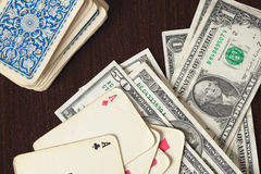 Vintage poker cards and american money Stock Photography