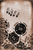 Vintage poker concept Stock Photo