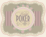 Vintage poker label banner Stock Photography