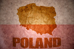 Vintage poland map. Poland map on a vintage polish flag background stock image