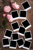 Vintage Polaroid photo frame on wood Stock Photos