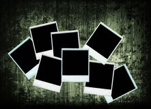 Vintage polaroids photo collection wood texture Royalty Free Stock Images