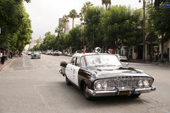Vintage Police Car Parade in Hollywood Stock Image
