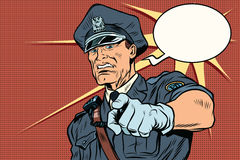 Vintage police officer COP arrests. Pop art retro comic book vector illustration Royalty Free Stock Photo