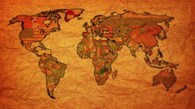 Vintage political map of world with national flags stock footage