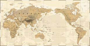 Vintage Political Physical Topographic World Map Pacific Centered. Vector Stock Image