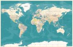 Free Vintage Political Topographic Colored World Map Vector Stock Photography - 109277042