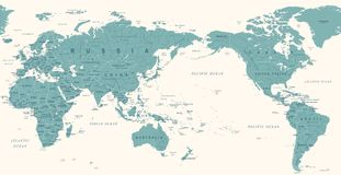 Vintage Political World Map Pacific Centered. Vector Royalty Free Stock Photo