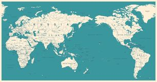 Vintage Political World Map Pacific Centered. Vector Stock Image