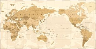 Vintage Political World Map Pacific Centered. Vector Stock Photo
