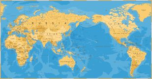 Vintage Political World Map Pacific Centered. Vector Stock Images