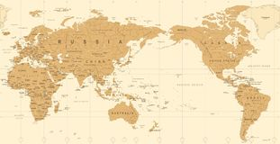 Vintage Political World Map Pacific Centered. Vector Royalty Free Stock Photos