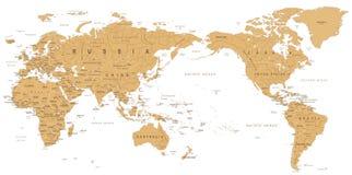 Vintage Political World Map Pacific Centered.  vector illustration