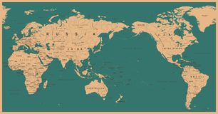 Vintage Political World Map Pacific Centered. Vector Royalty Free Stock Photography