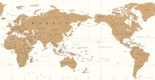 Vintage Political World Map Pacific Centered. Vector Stock Photography