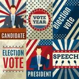 Vintage Politics Posters. Vintage politics mini posters set with election candidates figures vector illustration vector illustration