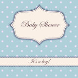 Vintage polka dot blue baby shower Royalty Free Stock Image
