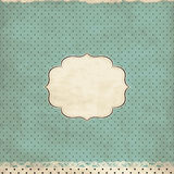 Vintage polka dot card. With lace Stock Photo