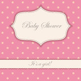 Vintage polka dot pink baby shower Stock Photos