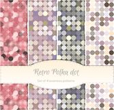 Vintage polka dot seamless patterns, set of four. Royalty Free Stock Images