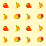 Vintage polygon banana mango strawberry pattern Stock Photos