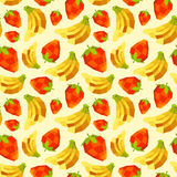 Vintage polygon banana strawberry pattern Royalty Free Stock Photography