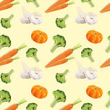 Vintage polygon carrot broccoli garlic pattern Stock Photography