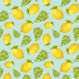Vintage polygon grape lemon pattern Stock Images
