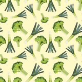 Vintage polygon leek broccoli pattern Stock Photos