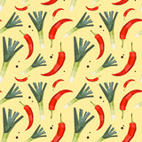 Vintage polygon leek hot pepper pattern Royalty Free Stock Photography