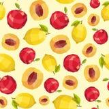 Vintage polygon peach lemon apple pattern Royalty Free Stock Image