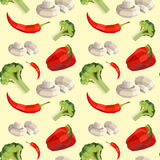Vintage polygon pepper, broccoli, mushrooms and hot pepper pattern Stock Images