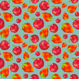 Vintage polygon strawberry apple pattern Royalty Free Stock Image