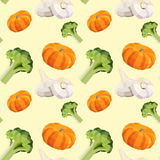 Vintage polygon vegetable pattern with pumpkin, broccoli and garlic Royalty Free Stock Photography