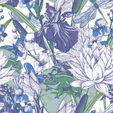 Vintage pond water flowers vector seamless pattern Royalty Free Stock Images