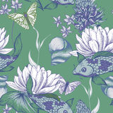 Vintage pond water flowers vector seamless pattern Stock Photography